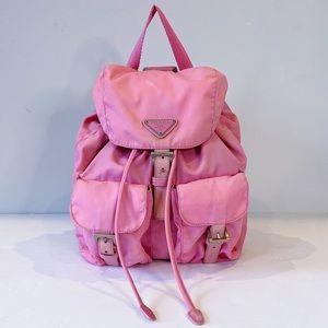 Vintage Pastel Pink Prada Tessuto Nylon Backpack